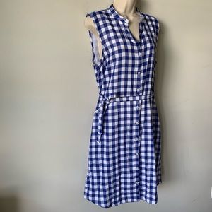 Tommy Bahama blue gingham cotton shirt dress